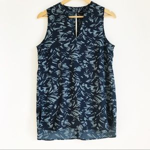 BANANA REPUBLIC Blue/Gray Printed Sleeveless Top